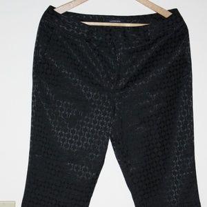 Black Jacquard Ankle Pants